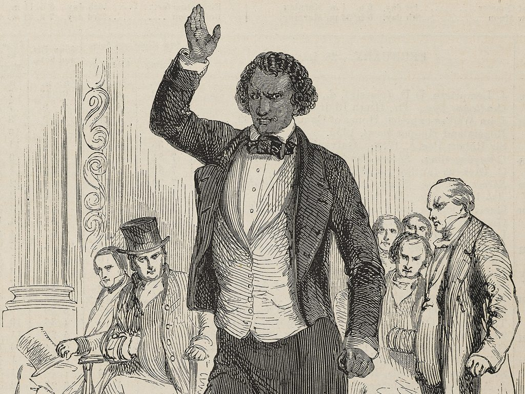 Engraving of Frederick Douglass on the lecture platform, c1846