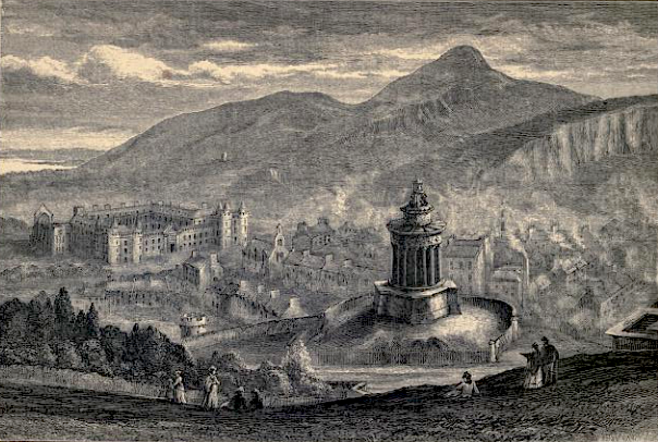 Arthur's Seat from Calton Hill, engraving.