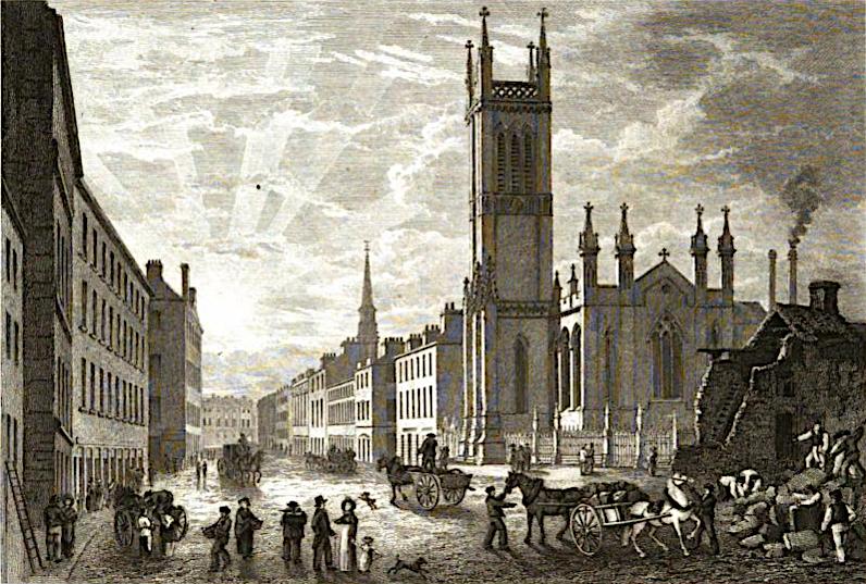 Engraving by Joseph Swan of Ingram Street, Glasgow, c. 1829