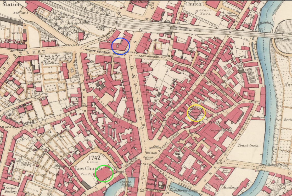 1857 map of Kilmarnock showing venues where Douglass addressed antislavery meetings in 1846.