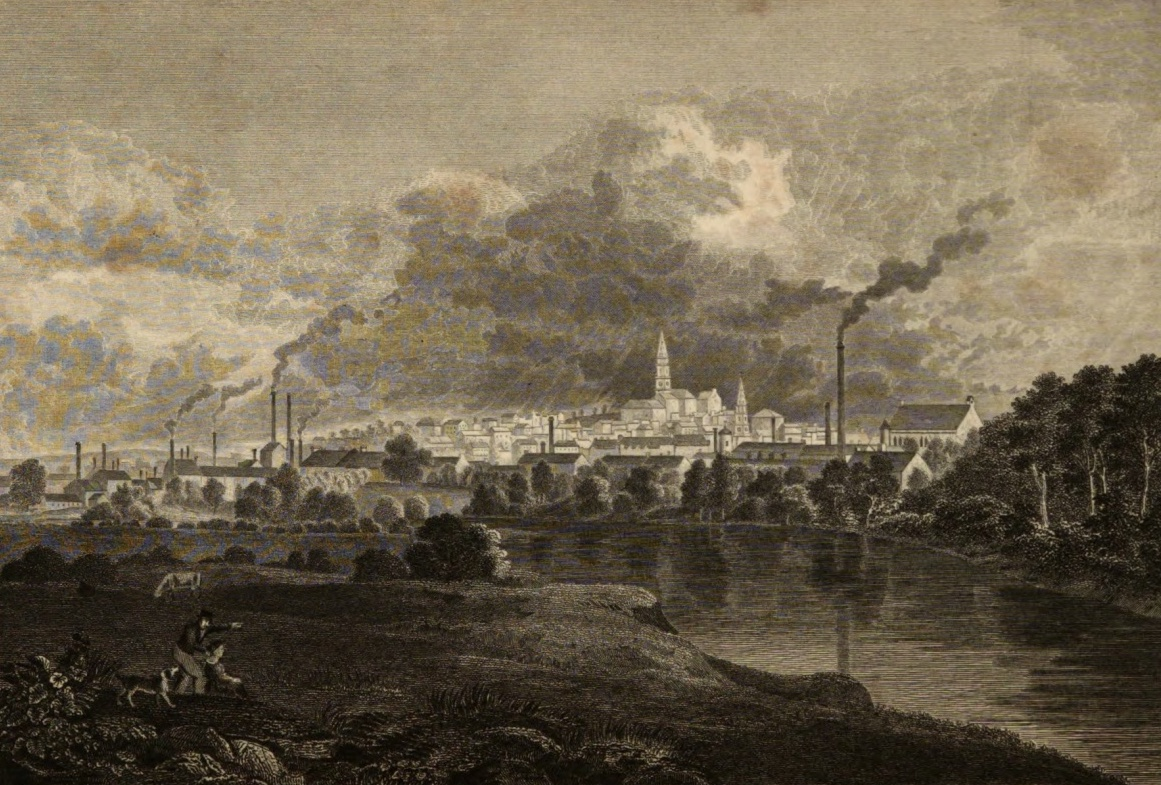 View of Paisley from the Aqueduct Bridge. Engraving by Joseph Swan.