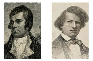 Portraits of Robert Burns and Frederick Douglass