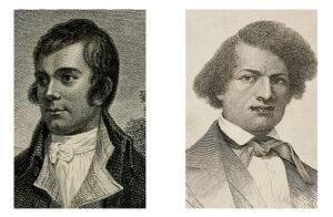 Portraits of Robert Burns and Frederick Douglass