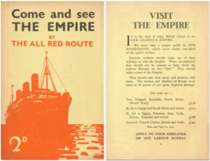 (a) Cover of brochure featuring red silhouette of ocean liner (and showing price, 2d) (b) Sample page from brochure, headed 'Visit the Empire'